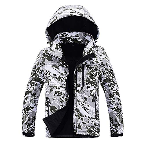 (GOVOW Camouflage Jacket for Men Fleece Inside Casual Soft Shell Hoodie Outdoor Outfit Assault Coat(US:10/CN:XL,Army Green))