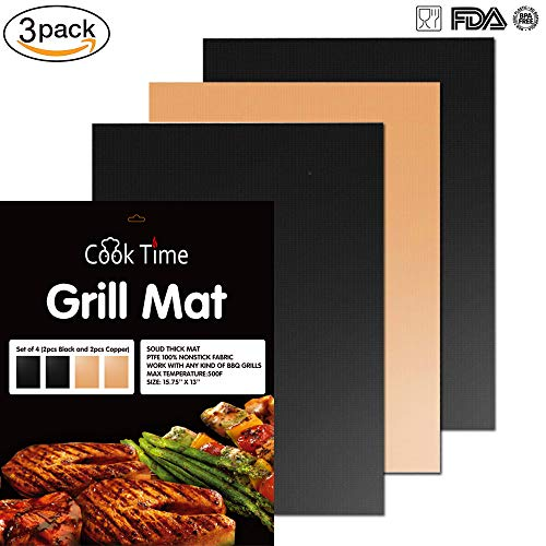 Grill Mat - Set Of 3 Non-Stick BBQ Grilling & Baking Sheet -