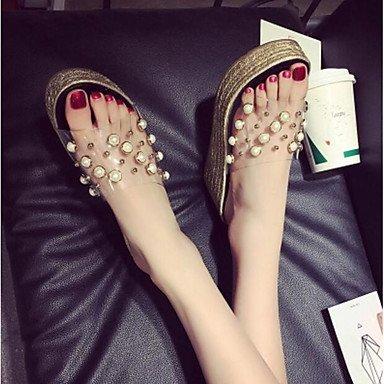 RUGAI-UE Moda de Verano Mujer sandalias casuales zapatos de tacones PU Confort caminar al aire libre,rubor rosa,US6.5-7 / UE37 / UK4,5-5 / CN37 Black