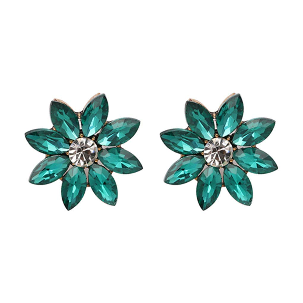 90de32deb47 Amazon.com  Flower Bomb Stud Women Midnight Shimmer Statement Crystal  Earrings For Girls light blue  Beauty