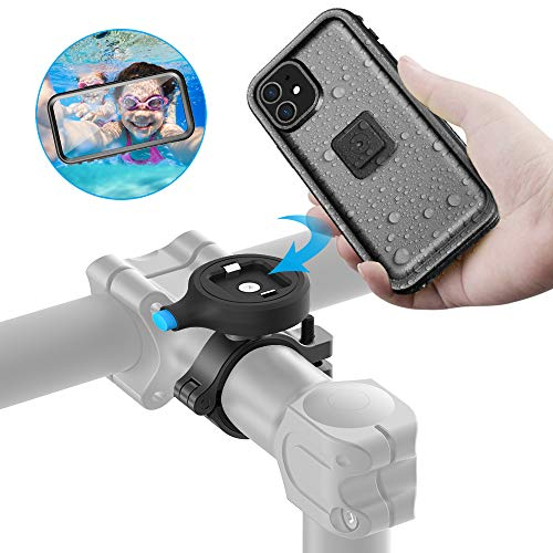 Sokusin Metall Fahrradhalterung, wasserdichte Fahrradhülle für iPhone 11, Aluminiumlegierung One Second Release Fahrradhalter, Motorrad Lenkerhalterung
