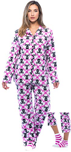 (6370-10236-L #FollowMe Printed Microfleece Button Front PJ Pant Set with Socks,White - Skull Brocade,Large)