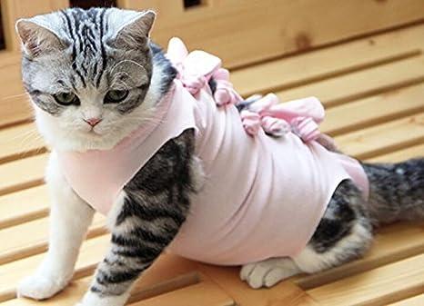 PvxgIo Gato Perro Ropa de Verano Esterilización Destete Ventilación fisiológica Ropa para Mascotas Rosa L: Amazon.es: Hogar