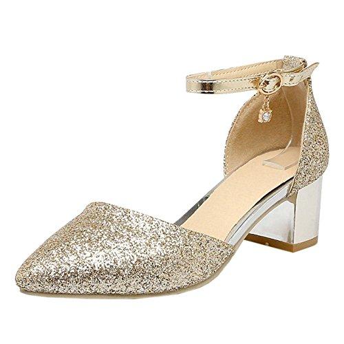 Gold 1 Bride Sandales Cheville Femmes TAOFFEN Xw7qHxIq