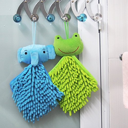 kilofly Soft Absorbent Fast-Dry Chenille Kids Hanging Hand Towels, Set of 4