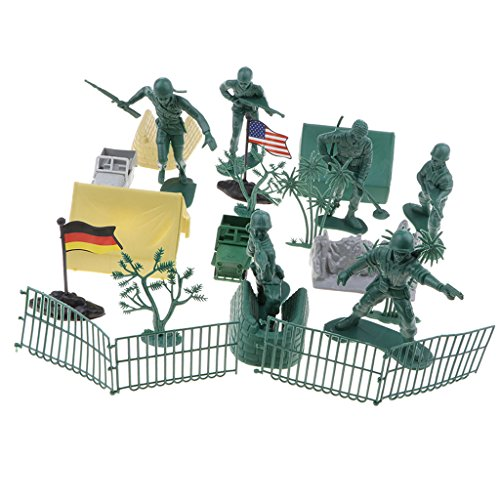 Baoblaze Bucket of 25pcs Realistically Plastic WWII Toys SoldierS Sandbag Tree Jeep Cars Vehicles Figures Army Base Set Kids Toy Gift (Wwii Sandbag)