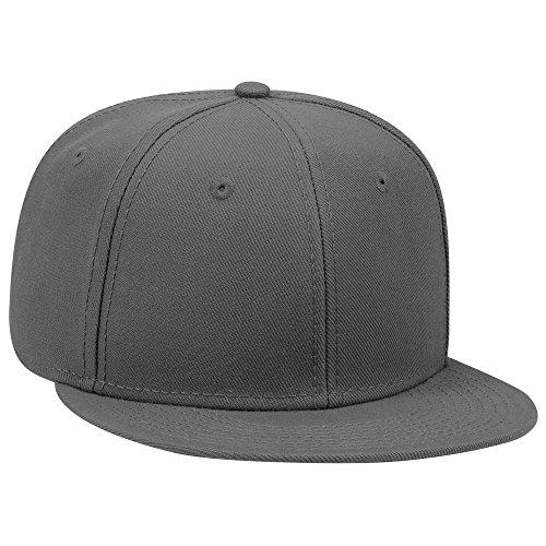 (OTTO SNAP Wool Blend Twill Round Flat Visor 6 Panel Pro Style Snapback Hat - Char. Gray)