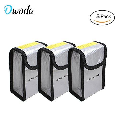 Owoda 3pcs LiPo sac de batterie explosion sac de sécurité ignifuge pour DJI Phantom 3/4