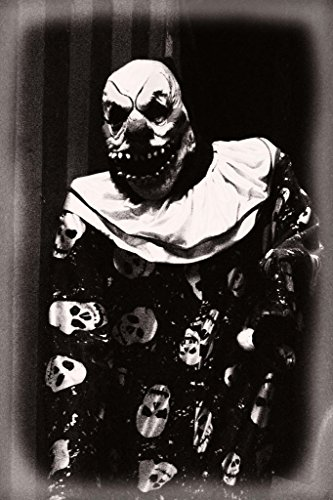 Scary Clown Picture (Creepy Clown with Scary Teeth Black and White B&W Photo Art Print Poster 12x18)