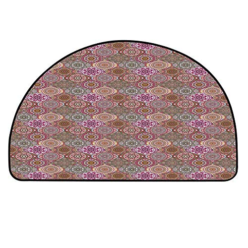 - YOLIYANA Moroccan Semicircle Rug,Oval Shapes Waves Curves with Lively Colored Nature Inspired Blossoms Pattern Decorative Floor Mat,17.7