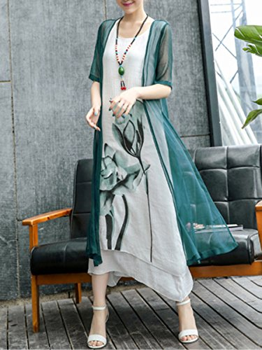 Women's Retro Asymmetric Printed Piece Round Two Block Maxi Neck Dress Hem Honwenle Long Color Green Linen Cotton TdqApwp