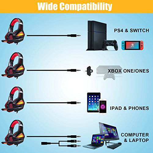 BlueFire Upgraded Professional PS4 Gaming Headset 3.5mm Wired Bass Stereo Noise Isolation Gaming Headphone with Mic and LED Lights for Playstation 4, Xbox one, Laptop, PC(Red) by BlueFire (Image #4)'