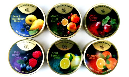 Cavendish & Harvey Drops 6-Flavor Variety: One 5.3 oz Tin Each of Orange, Mixed Fruit, Pear & Blackberry, Wild Berry, Sour Cherry, and Sour Lemon in a BlackTie Box (6 Items Total) by Black Tie Mercantile (Image #2)