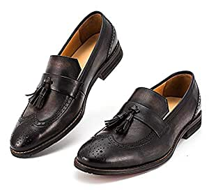 Yao Borla de Cuero Genuino Slip On Mocasines Zapatos Casuales Mocasines Vintage Zapatos Hechos a Mano para Hombres (Color : Black, Size : 43-EU): Amazon.es: ...