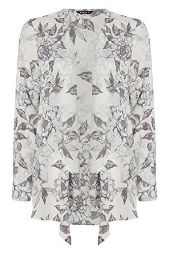 Daywear Kimono Summer Blazer Sleeve Roman Originals Jacket Evening Unlined Smart Print Boho Floral Cardigan Long Women Grey Ladies Lightweight Holiday xwIfwqAZ4