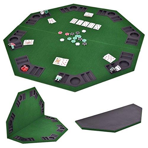 """Giantex 48"""" Folding Poker Table Top Green Octagon 8 Player Four Fold Folding Poker Table Top & Carrying Case (Grass Green)"""
