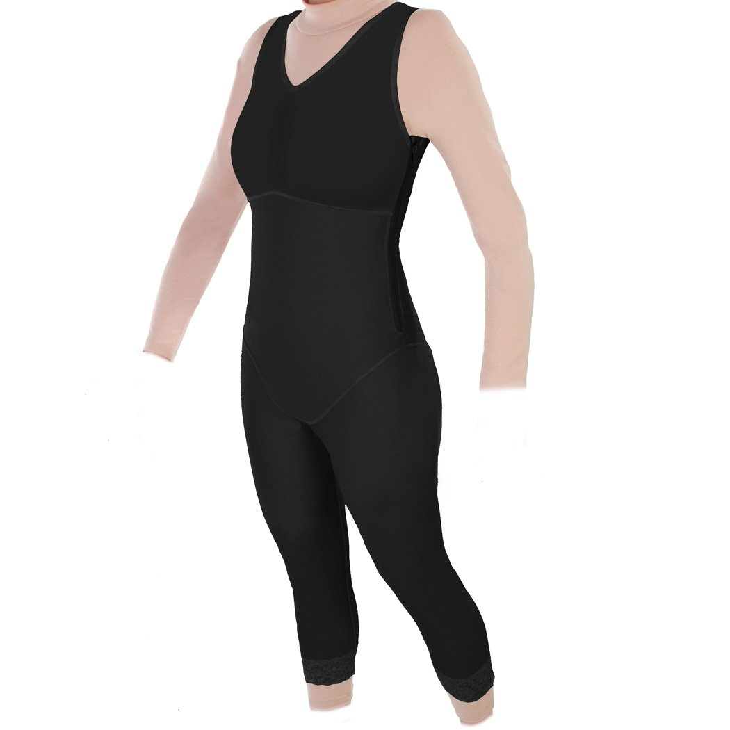 Mid-Calf Compression Garment with Side Zippers : Style 28Z (Medium, Black) by ContourMD
