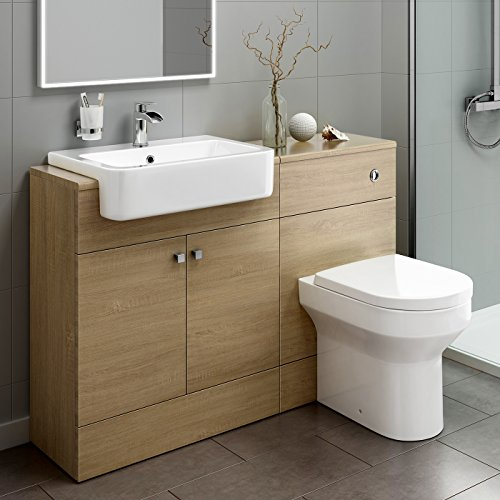 1160mm Luxury Oak Wood Toilet Sink Vanity Unit Bathroom