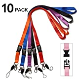 Office Neck Lanyards Detachable Buckle Enhanced Model Hook Breakaway Strap Quick Release Lanyard for ID Badge,Key,Camera,Key,Cell Phones USB Whistles Nylon Black 10 Pack (Multicolor)