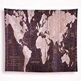 All Smiles World Map Tapestry Wall Hanging Black Starry Globe Vintage Rustic Painting Wall Blanket Home Decor for Bedroom Dorm Living Kids Room 51''x59''