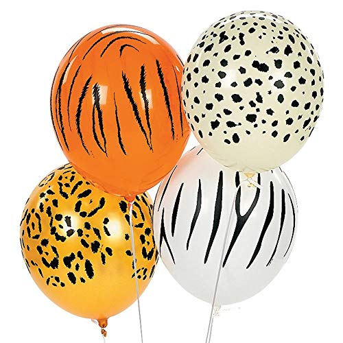 Fun Express Jungle Animal Print Safari Party Balloons - 11 Inch - 50 Piece Pack