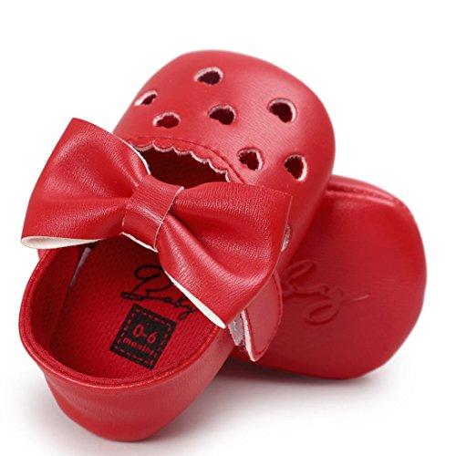 Clode® Baby Mädchen höhlen heraus Bowknot Schuhe beiläufige Schuhe Turnschuhe rutschfeste weiche Schuhe aus Rot