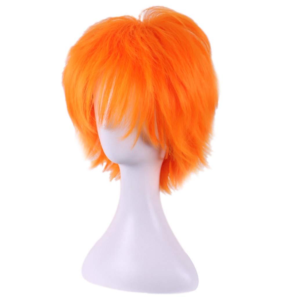 Bumen Herren Per/ücken Per/ücken Haarteile f/ür Erwachsene Orange Kurze Cruly Herren Per/ücke f/ür Anime Cosplay Kost/ümparty Gentleman Per/ücken wig Halloween Mann Men Wig Herren Haarteile