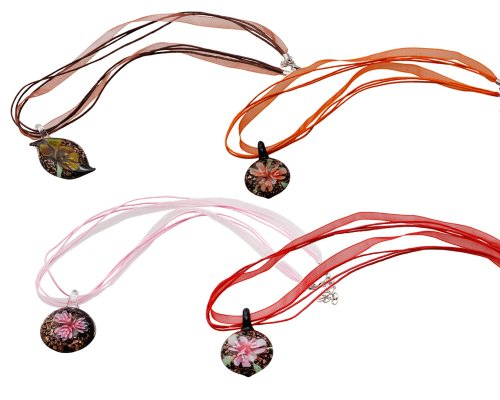 "Bundle Monster Colorful Assorted Glass Murano Floral Pendant Necklace 8pc Set, 18"" Cord"
