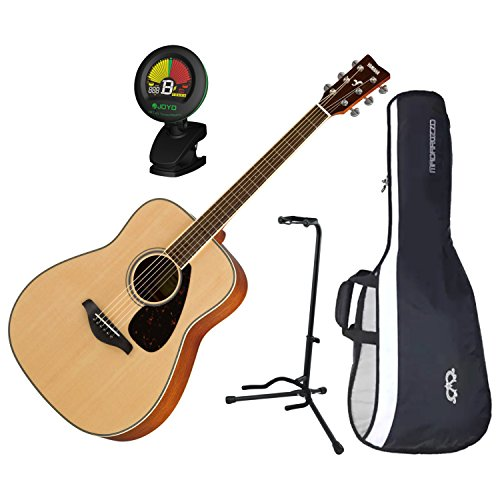 (Yamaha FG820 Solid Sitka Spruce Top Folk Acoustic Guitar Natural w/Gig Bag, Sta)