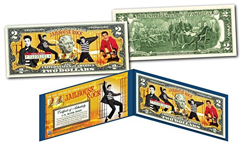 JAILHOUSE ROCK ELVIS PRESLEY Genuine Legal Tender $2 Bill - Officially Licensed