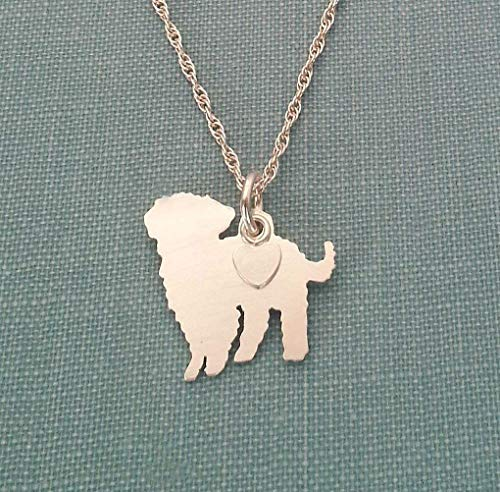 .925 Sterling Silver Maltipoo Dog charm Necklace Pet memorial silhouette jewelry