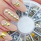 Binmer(TM)New 300 Punk Rivet Design Nail Art Sticker Tip Decal Manicure Metallic Gold Studs Nail Tips DIY