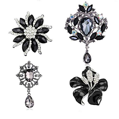 Ezing 4Pcs Black Brooch Lot with Large Big Waterdrop and Small Enamel Flower Pins Fashion Jewelry (Black) ()