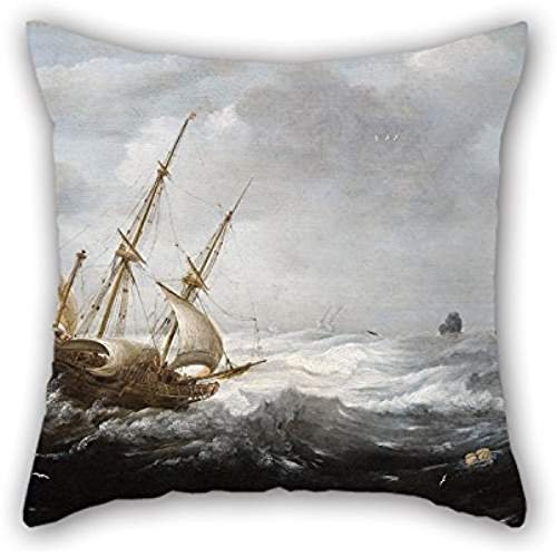 Cushion Cases Of Oil Painting Jan Porcellis - - Ship In Storm Art