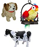 PLAY DESIGN BABY MUSICAL TOY COMBO JUMPING DOG, TALKING PARROT AND WALKING MILK COW (Multicolor)