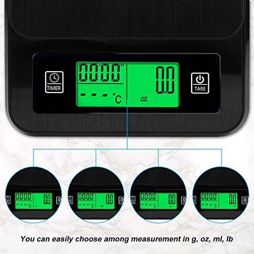 ACETOP Digital Kitchen Scale 3kg/6.6lb, Multifunction Coffee Bean Scale with Timer Temperature Probe, Food Scale Digital Weight Grams and OZ for Baking Cooking (Battery Operated/USB Supplying Power)