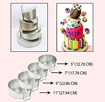 Set of 4 Tier Mini Topsy Turvy Round Multilayer Birthday Wedding Anniversary Cake Tins / Pans / Mould by Falcon