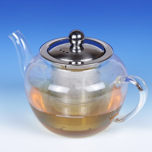 Creative Home Transparent Glass Tea Pot With Stainless