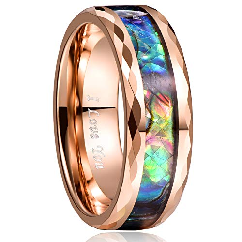 VAKKI 8mm Rose Gold Rings for Men Abalone Shell Wedding Bands with Faceted Edges High Polished Size 12.5