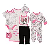 Baby Starters 9-Piece I Love Bows Layette Gift Set Bright Pink/White / Black 3-6 Months