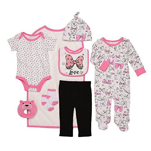 Baby Starters 9-Piece I Love Bows Layette Gift Set Bright Pink/White / Black 3-6 Months by Baby Starters