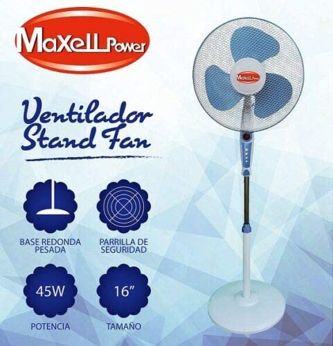 Maxell Power CE Ventilador DE PIE Giratorio 45W 3 VELOCIDADES 16 ...