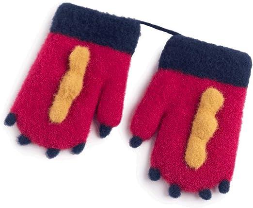 XRXX Guantes de algodón cómodo Lindo Dinosaurio Forma niño de Manoplas Fit elástico puños Brillantes Colores del Dedo Agujeros de poliéster (Color : Red): Amazon.es: Hogar