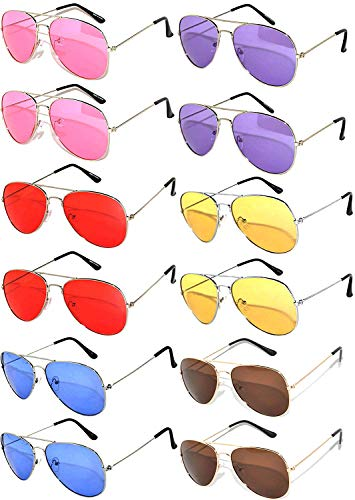 12 Pairs Classic Aviator Sunglasses Metal Gold Silver Black Frame Colored Mirror Lens OWL (Mix_Colored_Lens_silver_Frame, Colored)