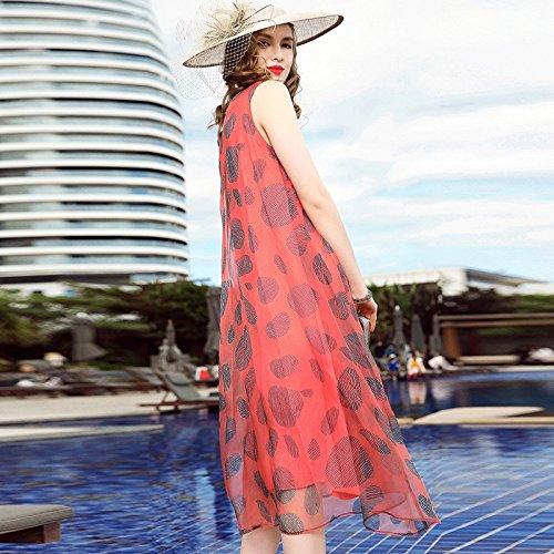 Silk America E Holiday Fashion Beach L Senza Maniche Europa Wave Dress Gonna Print Lian Skirt dimensioni qURxP