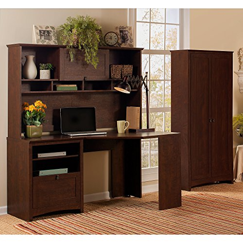 Buena Vista Corner Desk with Hutch and Tall Storage Cabinet