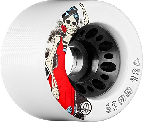 Rollerbones Day of the Dead 86A Speed/Derby Wheels with a Nylon Core (Set of 4), 62mm, White ()