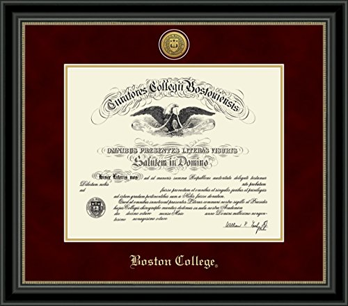 Boston College Gold Engraved Medallion Diploma Frame - Features Maroon Suede & Gold Mats - Officially Licensed - By Church Hill Classics ()