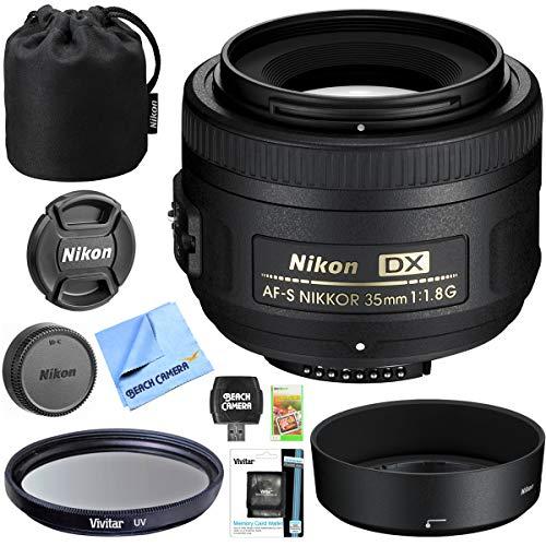 Nikon AF-S DX NIKKOR 35mm f/1.8G Lens with Auto Focus for Nikon F-mount DSLR Cameras Exclusive Accessory Set with 52mm Multicoated UV Protective Filter Kit + Tulip Lens Hood Essential Bundle (Nikon F Mount Lenses)