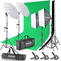 Neewer 8.5 x 10 feet / 2.6 x 3 meters Background Support System with 10 X 20 feet/3 X 6 meters Backdrop 800W 5500K Umbrellas Softbox Continuous Lighting Kit for Photo Studio Video Shoot Photography